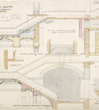 Architectural drawing of the staircase in the National Gallery of Ireland