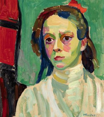 Gabriele Münter (1877-1962), 'Girl with a Red Ribbon', 1908.