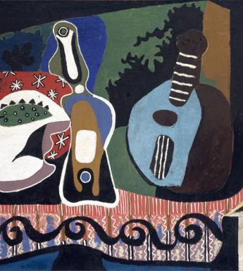 Cubist still life painting of a mandolin, bottle, and other objects on a table