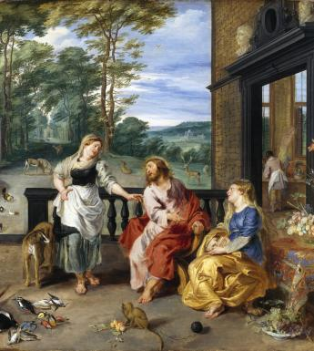 Jan Breughel the Younger (1601-1678) and Peter Paul Rubens (1577-1640), 'Christ in the House of Martha and Mary', c.1628. © National Gallery of Ireland.