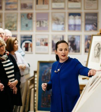 Niamh MacNally giving a tour of the Print Room. © National Gallery of Ireland.