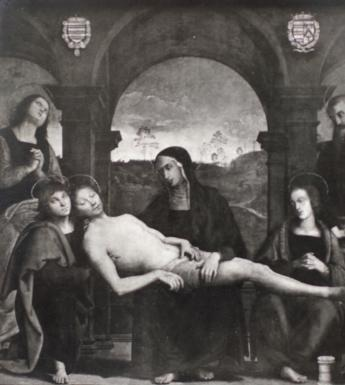 Perugino's 'The lamentation over the dead Christ' photographed in 1931, after its acquisition. © National Gallery of Ireland.