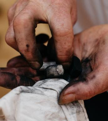 A detail of dirty hands after a charcoal art class. © National Gallery of Ireland.