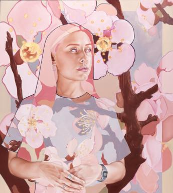 Shane Berkery (b.1992), 'Lady and the Cherry Blossoms', 2017. © the artist. Photo © National Gallery of Ireland.