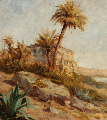 Painting of a Mediterranean coastline with palms trees at centre, a large ground plant with spiky green leaves in the left foreground, and the sea on the right.