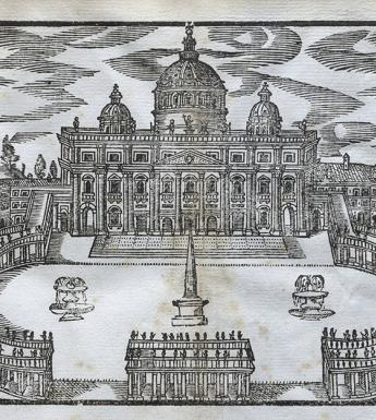 A seventeenth-century engraved book illustration of the Vatican in Rome.