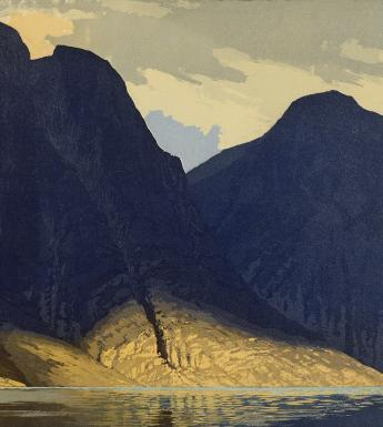 Edward L. Lawrenson, Sognefjord, 1924 - detail. The British Museum: © The Trustees of the British Museum.