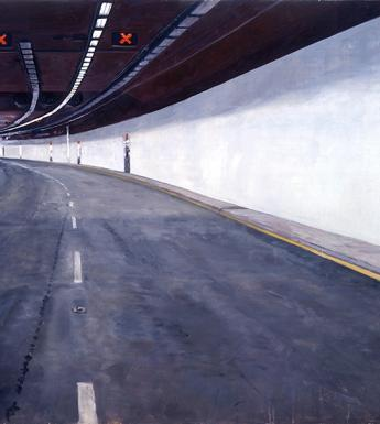 Painting of a tunnel for cars with the road curving to the left in the distance and an emergency door to the right.