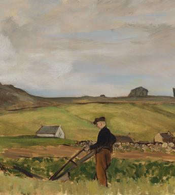 Painting of green fields and dry-stone walls with a man ploughing at centre.