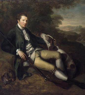 Painted portrait of a nobleman reclining in a leafy landscape, petting a brown and white gun dog and holding a gun, with a pair of dead pheasants on the ground.