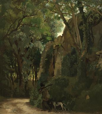 Painting of a man and gun dog walking along a forest track with trees and rocks looming over them.