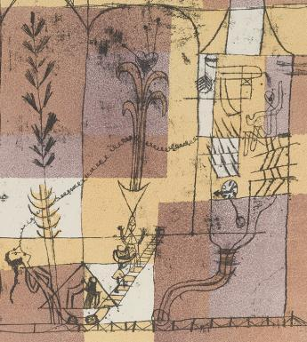 Print composed of thin black line drawing of stylised and simplified figures and buildings and plants on a pale purple, yellow and beige background.