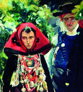 Colourful oil painting of a man and woman in traditional dress