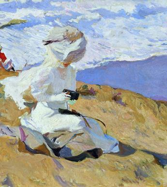 Oil painting of a woman in white on a beach holding a camera