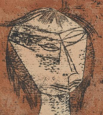 Stylised print of a human head against a rust-red background