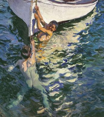 Oil painting of two young boys swimming and holding onto the bow of a white boat.