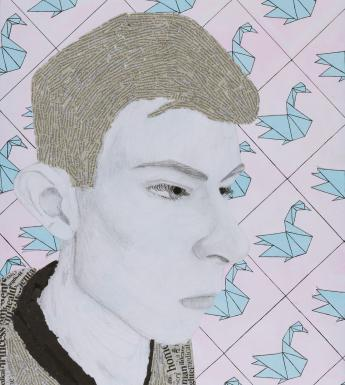 Against a repeated background of pale blue origami swans on pink we see a young man in profile. His hair and his t-shirt is made up of a collage of newspaper print.