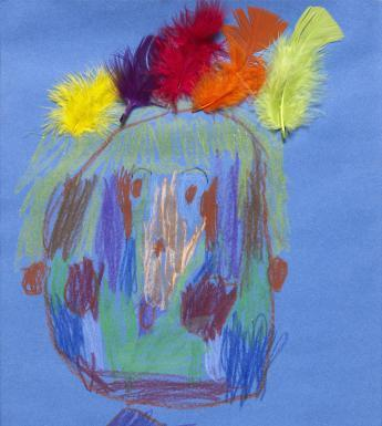 A crayon portrait of a large head on blue paper, with a colourful array of feathers added in where the hair might normally be.
