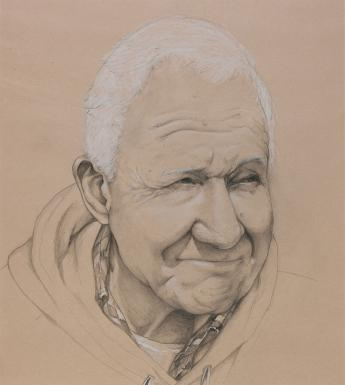 A graphite and pastel portrait of a white haired man. He has deep lines on his face, and a smile plays around his mouth. His eyes are narrowed, as though shading from the sunshine, and he looks off to the right. He is wearing a hoodie layered over a t-shirt and a shirt.