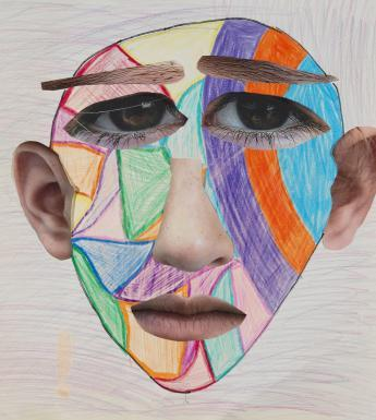 A collage, crayon and chalk portrait of a head. The head's outline is drawn in crayon, with a mosaic of different colours. The eyes, nose, ears, mouth and eyebrows have been added using collage.
