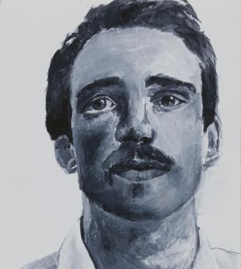 A monochromatic head and shoulders portrait of a man. He wears a white shirt, and dark hair and a moustache. His eyes are gazing up above the viewer.