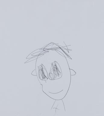 A pencil drawing of a boy - he has unruly hair, large eyes, and is smiling.