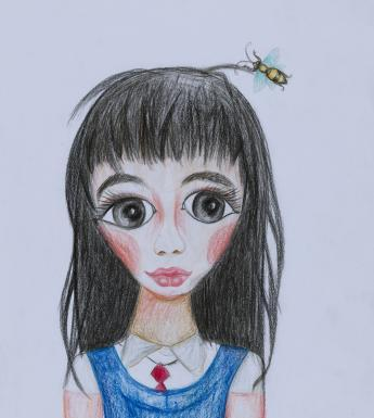 A drawing of a young girl with long dark hair. She is wearing a blue school pinafore over a white shirt and red tie, and there is a large wasp above her head.