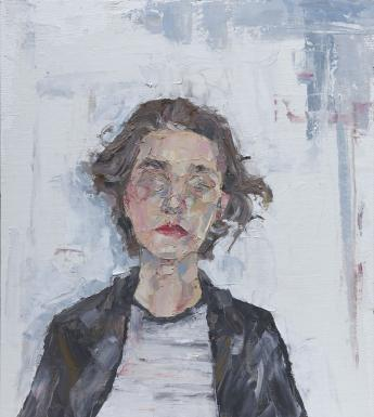 An oil portriat of a woman who is in front of a white wall. She wears a black jacket over a white tshirt, and her hair is windswept around her face, the features of which are quite abstract.