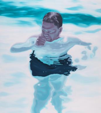 A portrait of a figure floating in water. He is submerged from his neck down, and everything except his head is slightly distorted by the water.