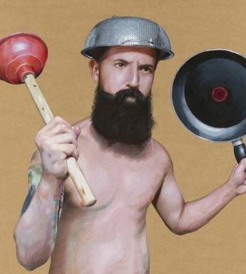 A man with a thick black beard holds aloft a toilet plunger and a frying pan. On his head he wears a colander. He is unclothed, and has a large tatoo on his right arm.