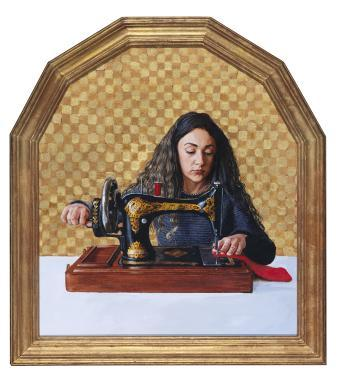 Within a glit frame, and in front of a golden checkered background, a dark haired woman works on an ornate black and gold old-fashioned sewing machine. She looks down at what she is working on, which is in a red material.
