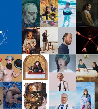 A collage of 26 portraits entered into the Zurich Portrait Prize 2019 with the Zurich Portrait Prize logo at top left in a blue square.