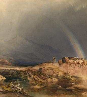 Watercolour of men herding cows through a mountainous landscape