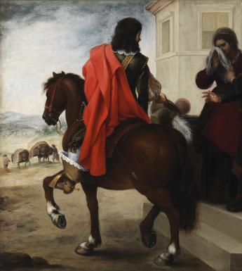 Oil painting of group of people watching man depart on horseback