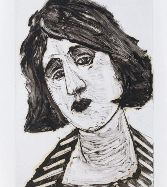 Monotype print of bust-length portrait of a woman
