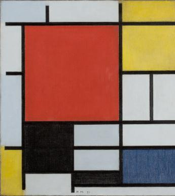 Abstract painting of a grid of grey, red, black, blue and yellow