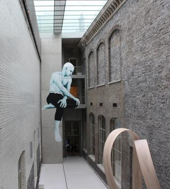 Photo of a Joe Caslin mural in the National Gallery of Ireland courtyard