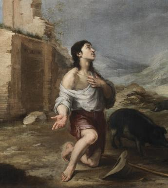 Oil painting showing the Prodigal Son kneeling with the swine, dressed in rags. He is looking aloft, and one hand is on his chest.