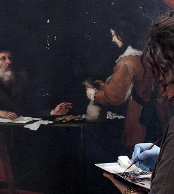 A conservator works on restoring a canvas by Murillo.
