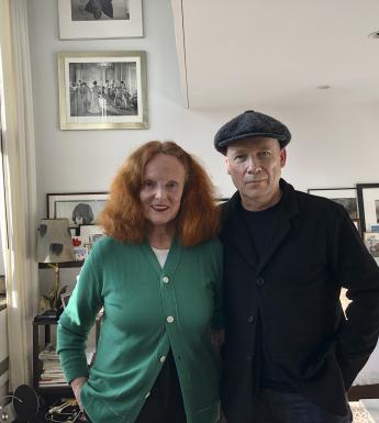 Grace Coddington and Perry Ogden, photographed at Coddington's home in New York. In the background we see lots of framed black and white photographs