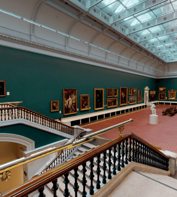 A view of the Grand Gallery from a staircase