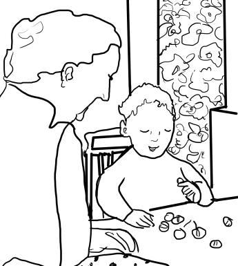 Line drawing of a woman and child