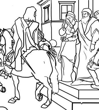 A line drawing of the Prodigal Son's departure