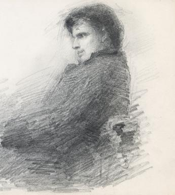 Pencil drawing of W.B. Yeats