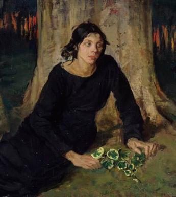 A woman in black lies at the foot of a tree, with flowers in her hand