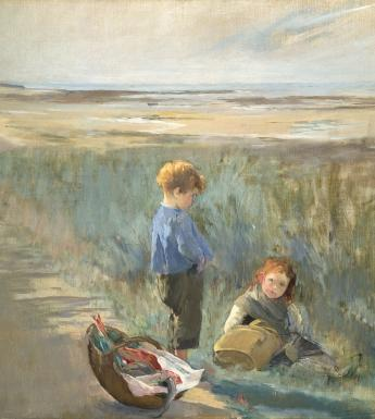 Painting of children in sand dunes