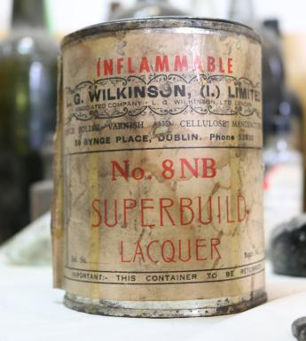 Old tin of lacquer found during refurbishment