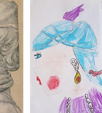 Child's recreation of a profile portrait