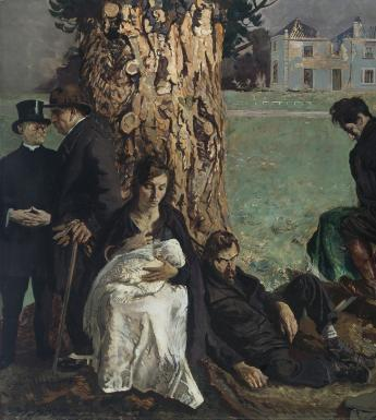 In the grounds of a burnt-out country house, a group of characters cluster around a tree trunk. On the left, a clergyman talks to a finely dressed businessman who turns his back to the figures behind him. Immediately beside them, a young mother (Mother Ireland) sits upright, nursing her baby. Next to them, a dishevelled, bearded man slumps comatose against the base of the tree. In the middle ground a uniformed soldier of the Free State Army and a member of the anti-Treaty forces, facing in opposite directio