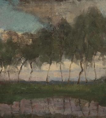 Trees line the waterfront, reflected in the water below. The sky is cloudy and blue, the colours are sombre and atmospheric